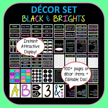 Black & Bright Colours Décor Set for Secondary Classrooms–  110+ Signs Posters