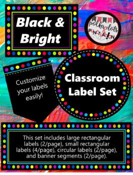 Black & Bright Editable Labels