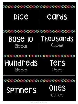 Black & Bright Math Manipulative Labels