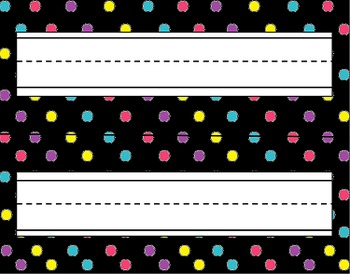 Black & Bright Polka Dot Desk Tags