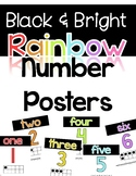 Number Posters 1-20- Black and Bright Rainbow