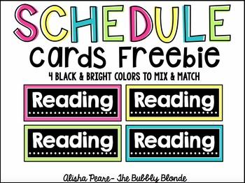 Black & Bright Schedule Cards Freebie