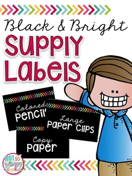 Black & Bright EDITABLE Supply Labels