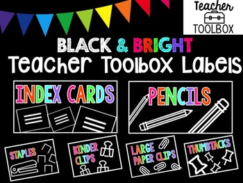 Black & Bright Teacher Toolbox Labels
