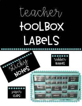 Black & Bright Teacher Toolbox Labels- 22 Drawer Toolbox (EDITABLE)