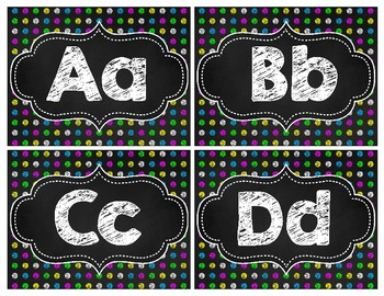 Black & Brights Chalkboard Polka Dot Word Wall Headers