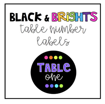 Black & Brights Circle Table Number Labels