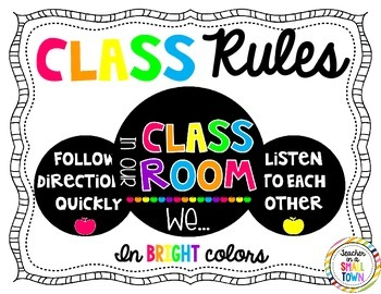 Black & Brights Classroom Rules