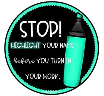 Black and Brights Highlight Name Bin Labels
