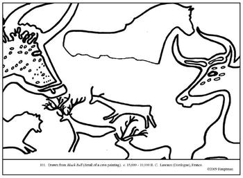 Black Bull (cave painting).  Coloring page and lesson plan ideas