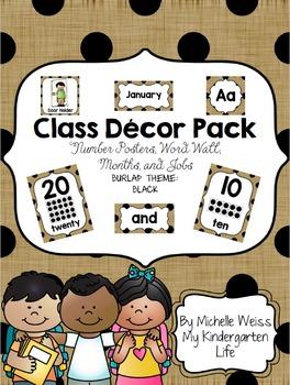 Black Burlap Classroom Decor Pack
