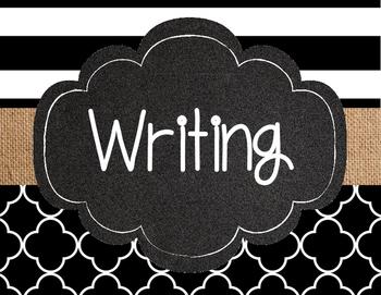 Black & Burlap Writing Process Signs