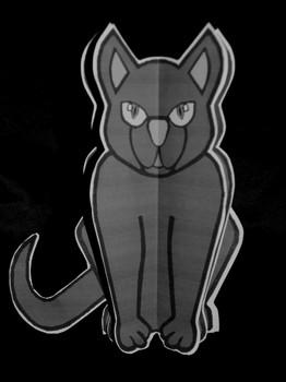 Black Cat Craft Activities: 3D Black Cat Halloween Craft Activity Packet - B&W