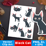 Black Cat Clipart, Halloween Cat Clip Art, Halloween Clipa