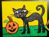 Black Cat Oil Pastel Art Project
