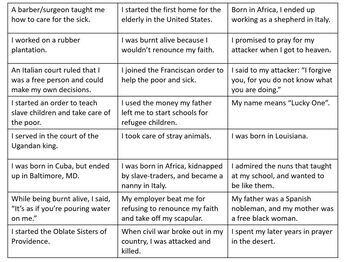 Black Catholic Saints Lesson and Matching Activity