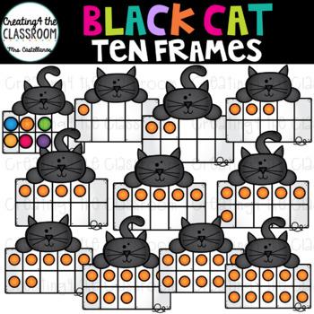Black Cats Ten Frames Clip Art {Halloween Clip Art}