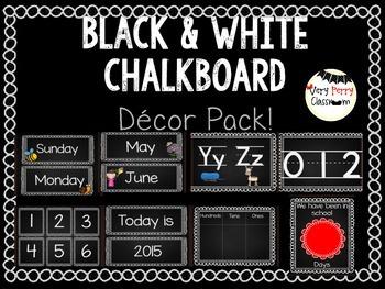 Black Chalkboard Decor and Calendar Set