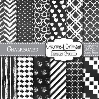 Black Chalkboard Digital Paper