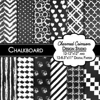 Black Chalkboard Digital Paper 1069