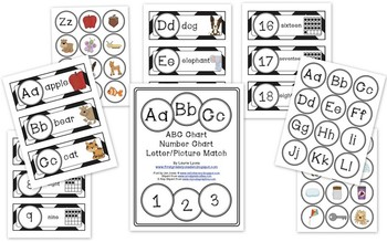 Black Chevron ABC and Number Cards