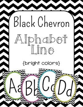 Black Chevron Alphabet Line: Bright Colors