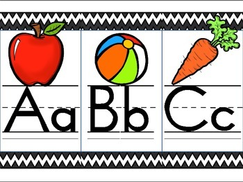 Black Chevron Alphabet Line With Pictures