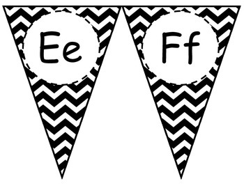 Black Chevron Alphabet Pennant