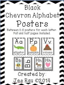 Black Chevron Alphabet Posters