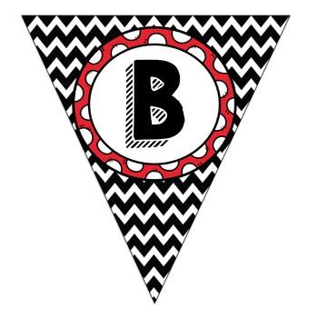 Black Chevron Red Polka Dot Circle Bulletin Board Pennants