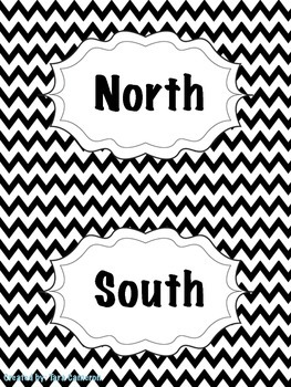 Black Chevron Cardinal Direction Cards