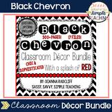 Black Chevron Classroom Decor: Editable Option (With a splash of RED!)