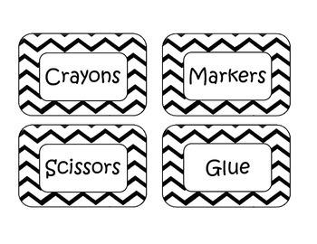 Black Chevron Classroom Labels