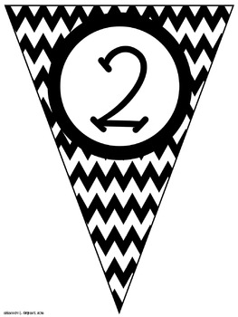 Black Chevron Classroom Pennants and Bunting (Letters, Numbers, Punctuation)