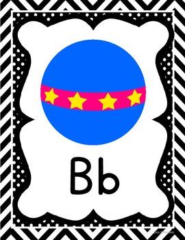 Black Chevron Manuscript ABC Wall Posters