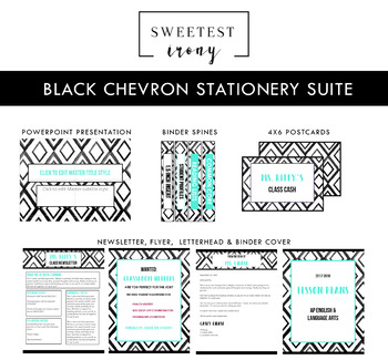 Black Chevron Stationery Suite