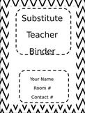 Black Chevron Substitute Teacher Binder