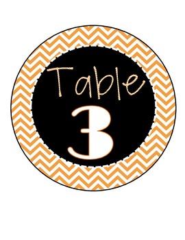 Black Chevron Table Numbers