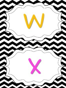 Black Chevron Word Wall Letters