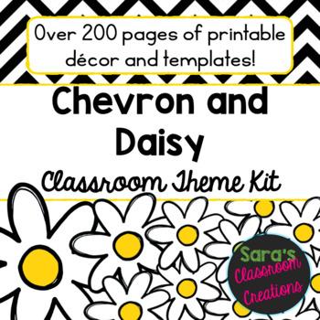 Black Chevron and Daisy Classroom Theme Decor Kit- EDITABLE