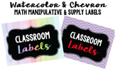 Editable Chevron and Watercolor Labels