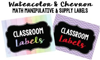 Chevron and Watercolor Math Manipulative Labels
