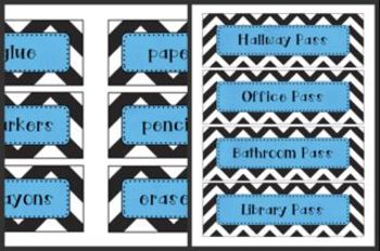 Black Chevron with Blue Classroom Decor