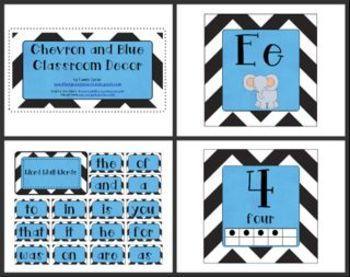 Black Chevron with Blue Classroom Decor