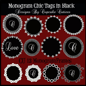 Black Chic Tags- Digital Tags for Mongrams and Stationary