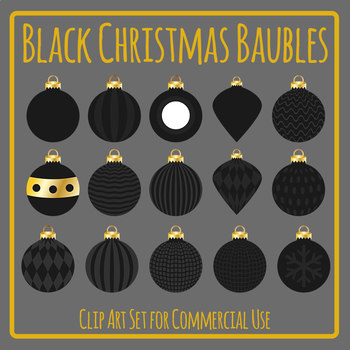 Black Christmas Baubles for Xmas Celebrations Clip Art for Commercial Use