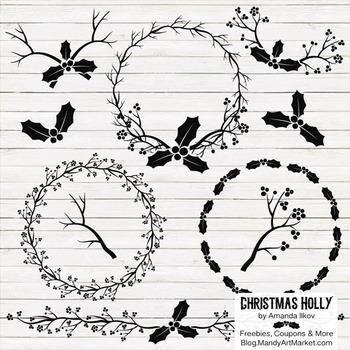 Black Christmas Holly Clipart