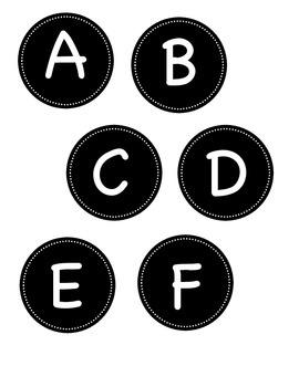 Black Circle Alphabet Labels