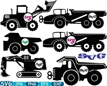 Black Circle Construction Machines toy toys cars car clipart work builders -328s