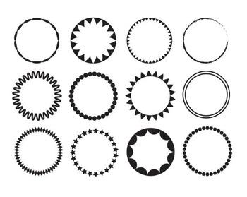 Black Circle Frames, Clip Art, Black Circle Set # 115